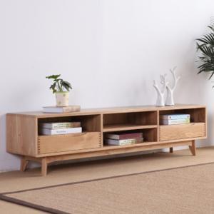 新明家具鋼制仿實木電視柜 田園簡約液晶電視地柜