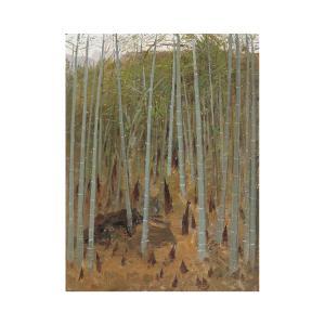 吳冠中綜合版畫《竹林春筍》