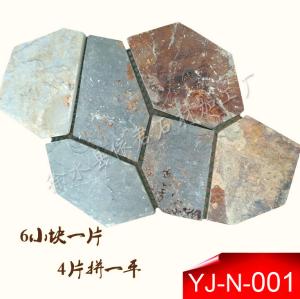 板岩网粘石 路面石