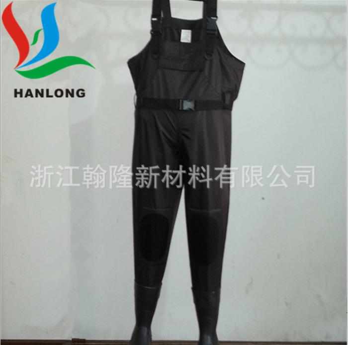 黑色高強度6P環保pvc夾網布 PVC下水褲面料