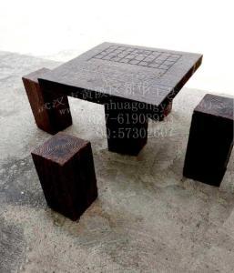 供應戶外混凝土仿木桌子 水泥仿木凳子 仿木桌椅