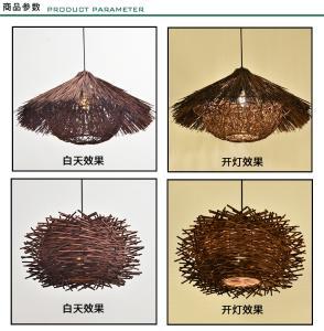 日式仿古饭店竹编藤艺吊灯创意个性复古吧台餐厅茶楼民宿鸟巢灯具